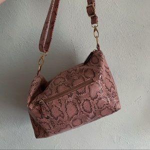 pastel pink snake skin small duffel purse bag